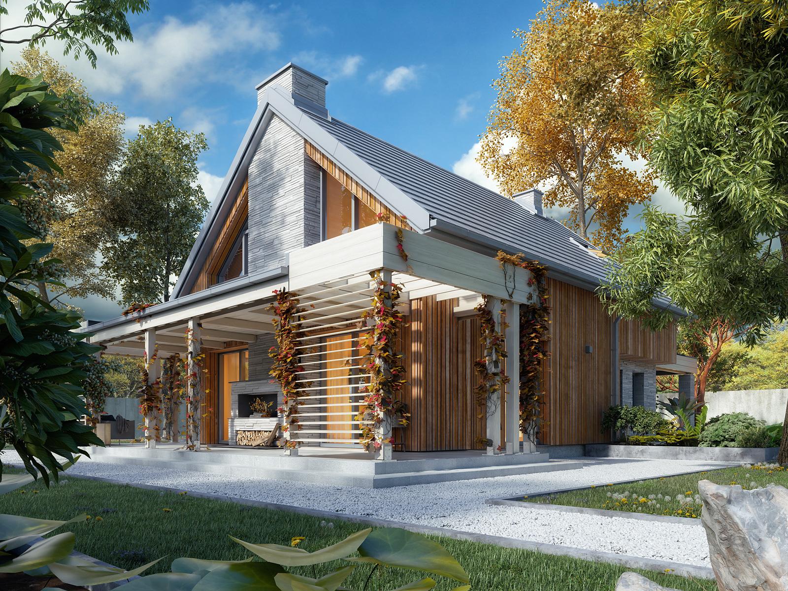 Projekt Weranda 4 (MTM Styl) z dachówką płaską CREATON