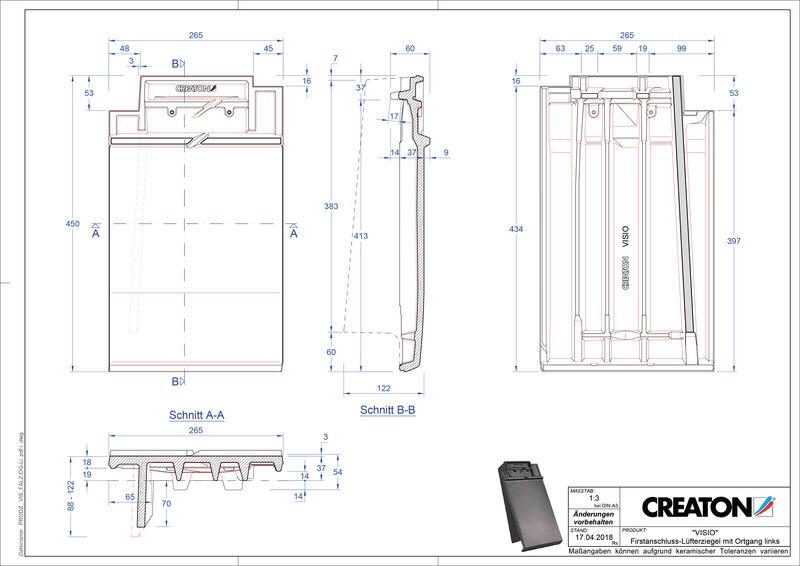 Plik CAD produktu VISIO dachówka kalenicowa wentylacyjna boczna lewa FALOGL