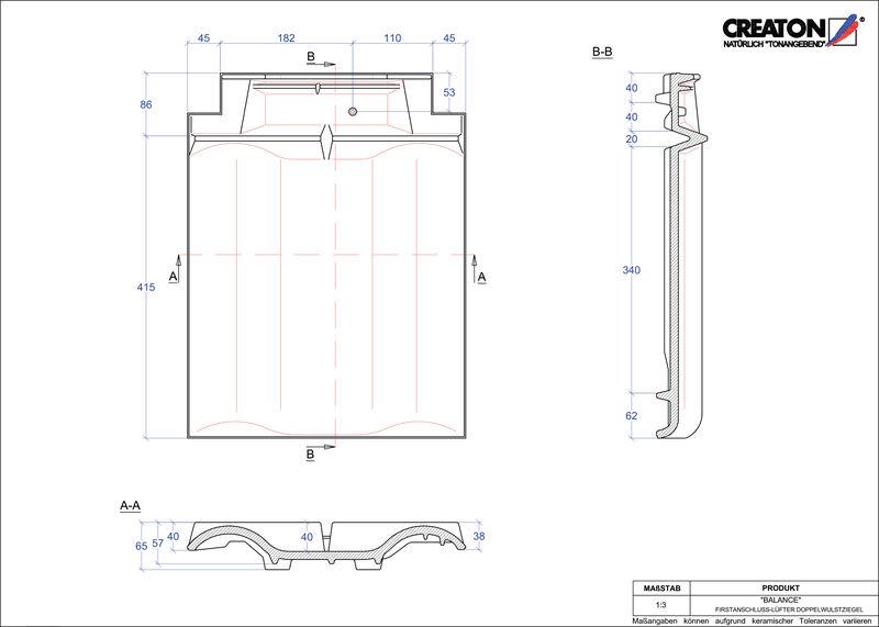 Plik CAD produktu BALANCE dachówka kalenicowa wentylacyjna dwufalowa FALDWZ