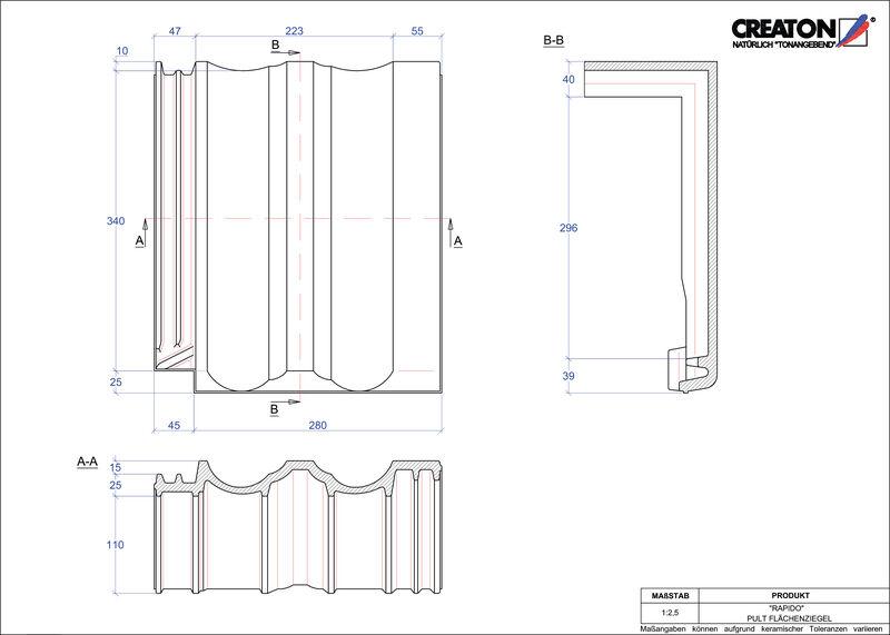 Plik CAD produktu RAPIDO dachówka pulpitowa połaciowa PULTFLA