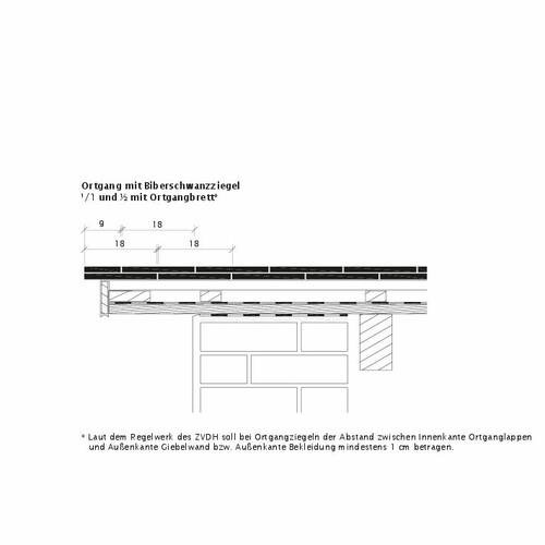 Rysunek techniczny produktu KLASSIK OBL Ortgangausbildung-mit-Biberschwanzziegeln-1-1-2-Ortgangbrett