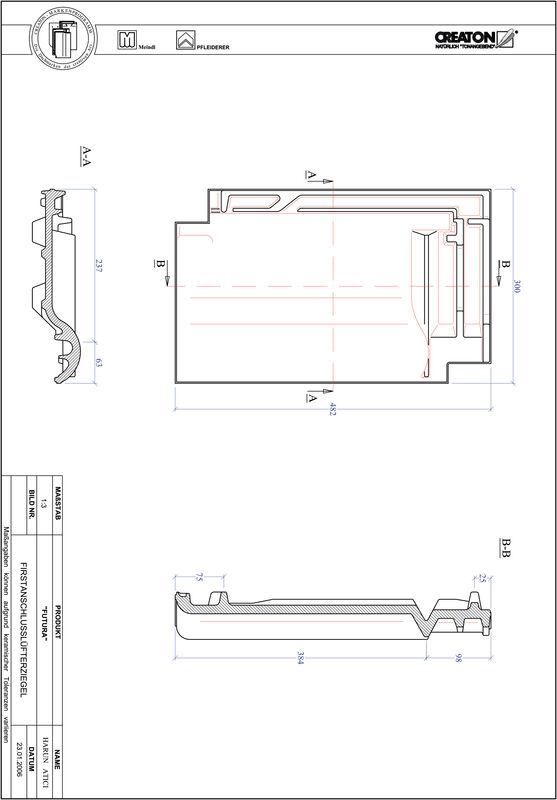 Plik CAD produktu FUTURA dachówka kalenicowa wentylacyjna FALZ