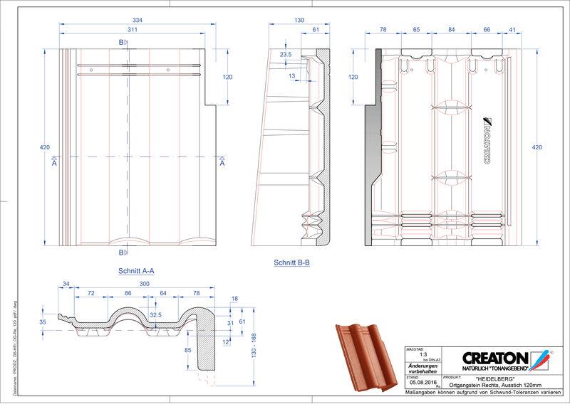 Plik CAD produktu HEIDELBERG dachówka pulpitowa boczna prawa PultOGR-120