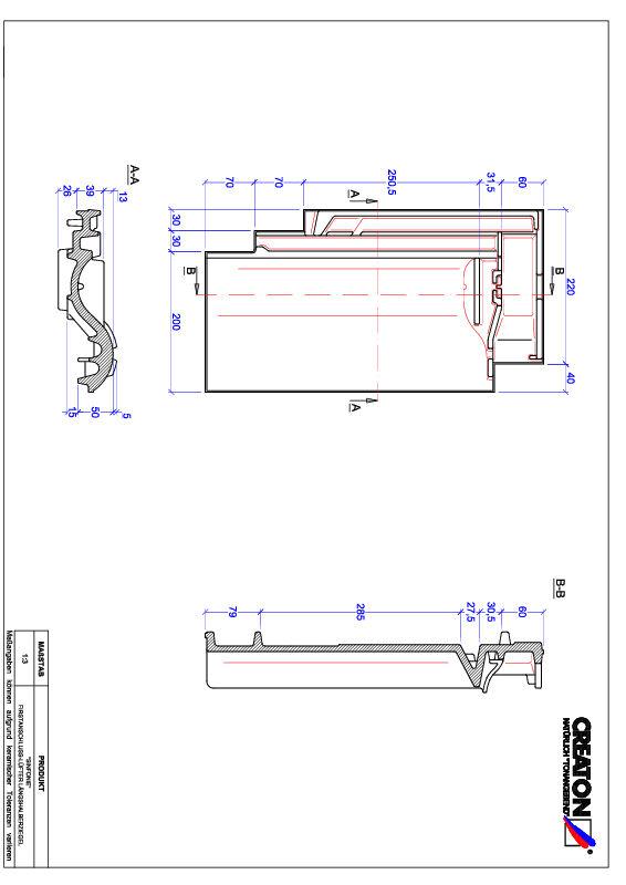 Plik CAD produktu SINFONIE dachówka kalenicowa wentylacyjna połówkowa FALLH