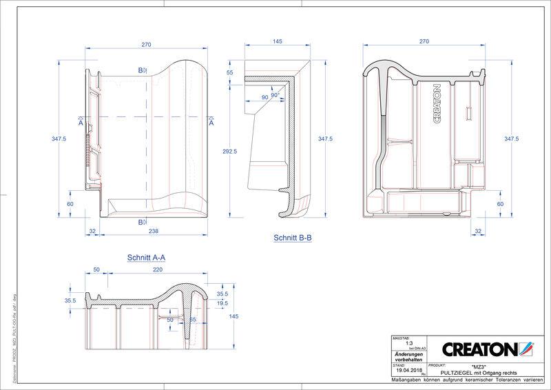 Plik CAD produktu MZ3 dachówka pulpitowa boczna prawa PULTOGR