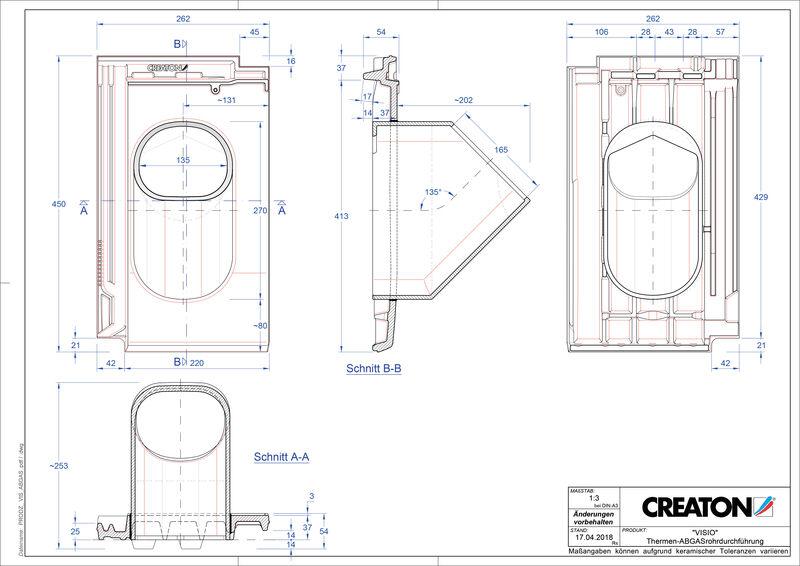 Plik CAD produktu VISIO dachówka przelotowa do kominów gazowych THERME