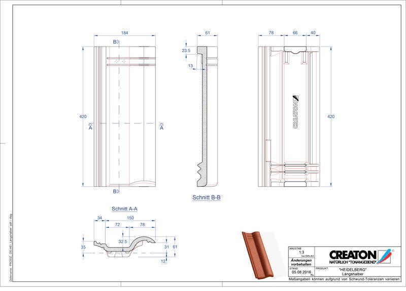 Plik CAD produktu HEIDELBERG dachówka połówkowa Laengshalber