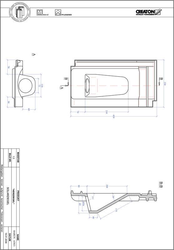Plik CAD produktu HERZZIEGEL dachówka przelotowa do systemu baterii solarnych SOLAR