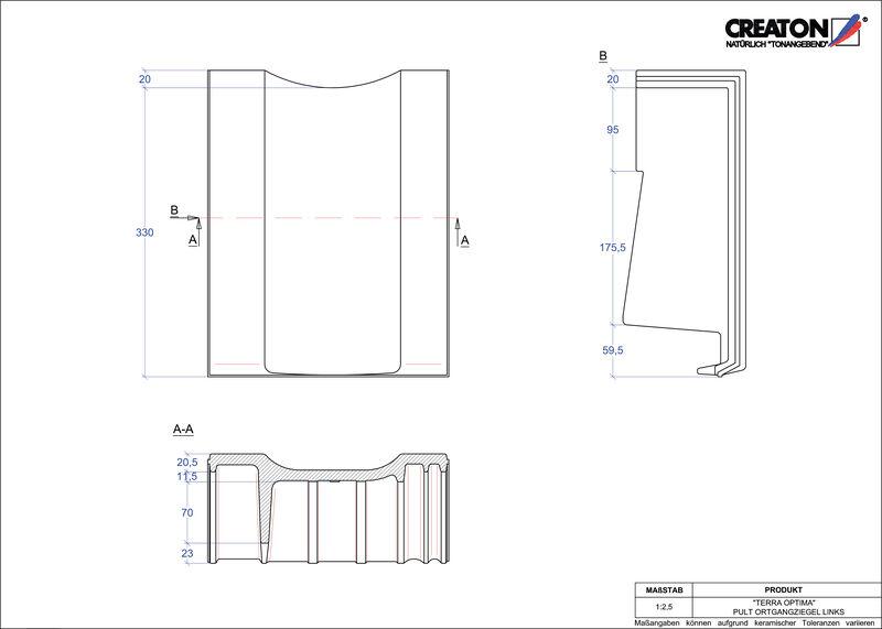 Plik CAD produktu TERRA OPTIMA dachówka pulpitowa boczna lewa PULTOGL