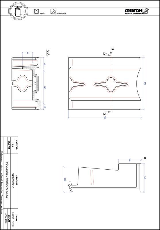 Plik CAD produktu HERZZIEGEL dachówka pulpitowa boczna lewa PULTOGL
