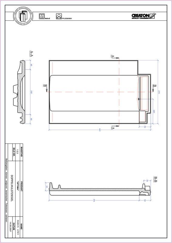 Plik CAD produktu OPTIMA dachówka dwufalowa DWZ