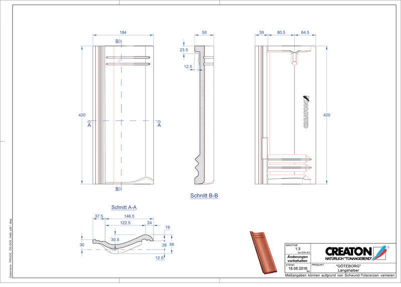 Plik CAD produktu GÖTEBORG dachówka połówkowa Laengshalber