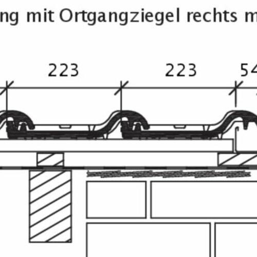 Rysunek techniczny produktu HARMONICA OG dachówka boczna prawa z blachą i dachówka połaciowa ORF