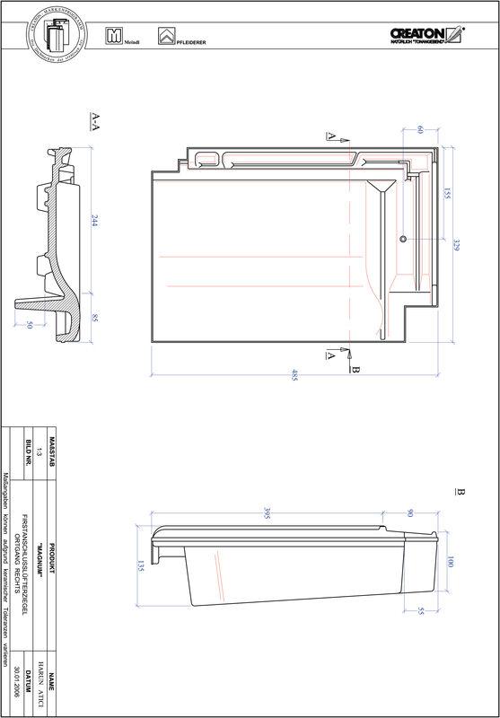 Plik CAD produktu MAGNUM dachówka kalenicowa wentylacyjna boczna prawa FALOGR