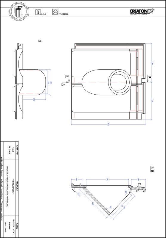 Plik CAD produktu HERZZIEGEL dachówka przelotowa do kominów gazowych THERME
