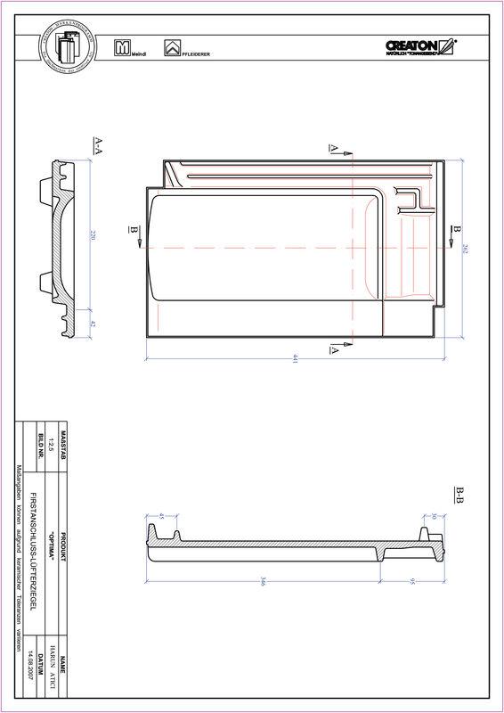 Plik CAD produktu TERRA OPTIMA dachówka kalenicowa wentylacyjna FALZ