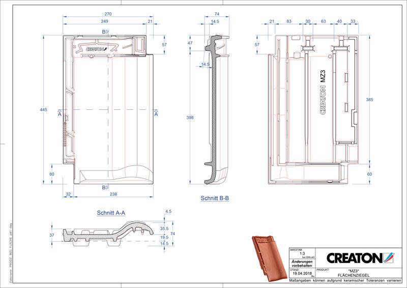 Plik CAD produktu MZ3 dachówka połaciowa FLA