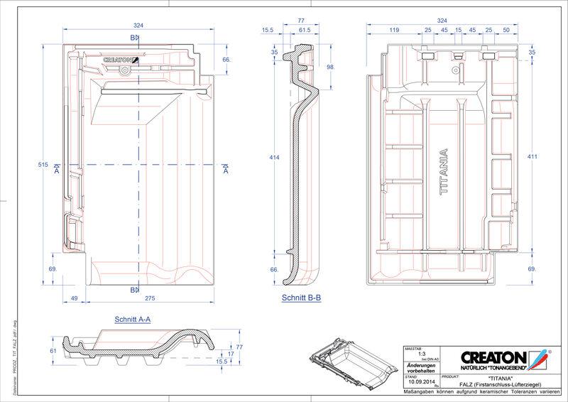 Plik CAD produktu TITANIA dachówka kalenicowa wentylacyjna FALZ