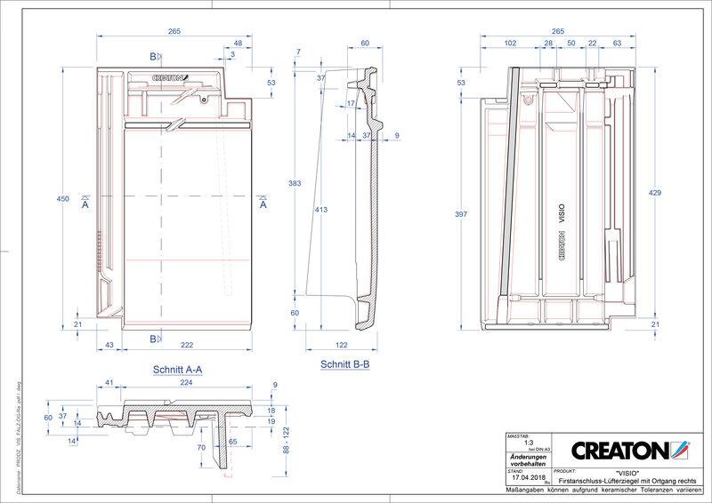 Plik CAD produktu VISIO dachówka kalenicowa wentylacyjna boczna prawa FALOGR