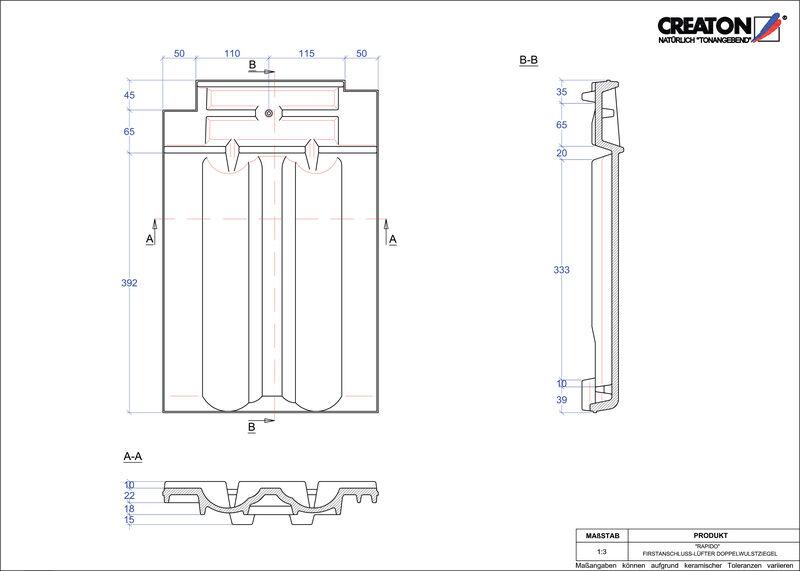 Plik CAD produktu RAPIDO dachówka kalenicowa wentylacyjna dwufalowa FALDWZ
