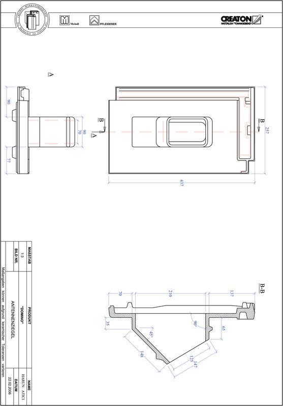 Plik CAD produktu DOMINO dachówka antenowa ANTENNE