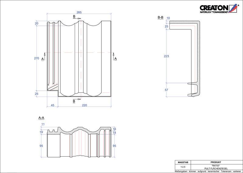 Plik CAD produktu RATIO dachówka pulpitowa połaciowa PULTFLA