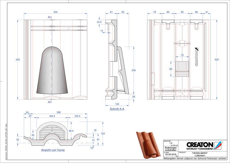 Plik CAD produktu HEIDELBERG dachówka wentylacyjna Luefterstein