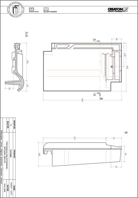 Plik CAD produktu FUTURA dachówka kalenicowa wentylacyjna boczna prawa FALOGR
