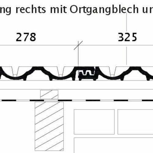 Rysunek techniczny produktu RAPIDO OG dachówka boczna prawa z blachą i dachówka połaciowa OFR