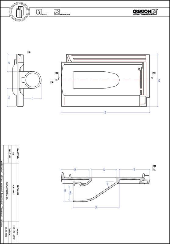 Plik CAD produktu TERRA OPTIMA dachówka przelotowa do systemu baterii solarnych SOLAR