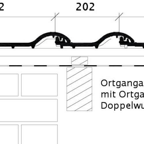 Rysunek techniczny produktu BALANCE OG dachówka boczna lewa z blachą i dachówka dwufalowa ODL