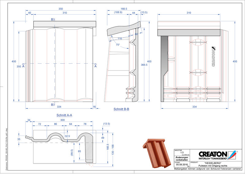Plik CAD produktu HEIDELBERG dachówka pulpitowa boczna prawa PultOGR