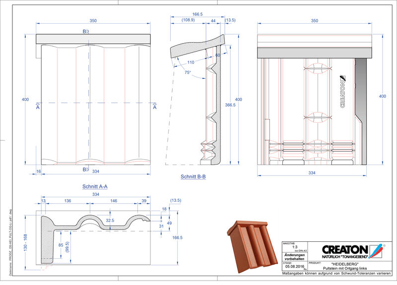 Plik CAD produktu HEIDELBERG dachówka pulpitowa boczna lewa PultOGL