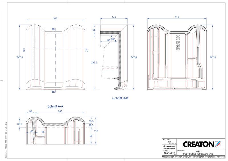 Plik CAD produktu MZ3 dachówka pulpitowa boczna lewa PULTOGL