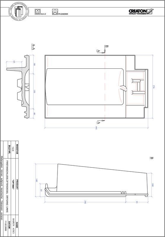 Plik CAD produktu OPTIMA dachówka kalenicowa wentylacyjna boczna lewa FALOGL