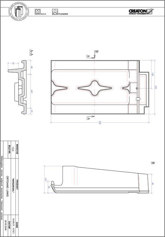 Plik CAD produktu HERZZIEGEL dachówka boczna lewa OGL