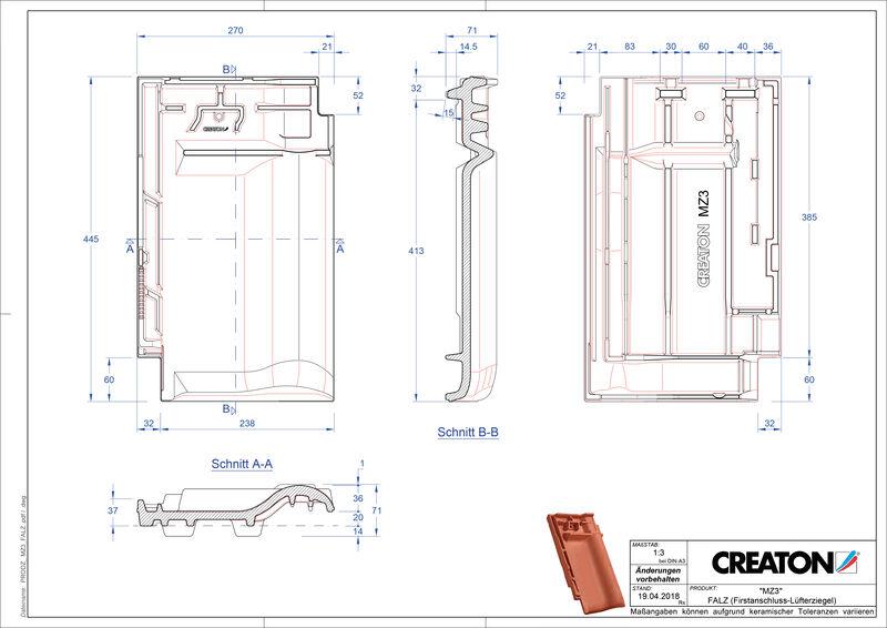 Plik CAD produktu MZ3 dachówka kalenicowa wentylacyjna FALZ