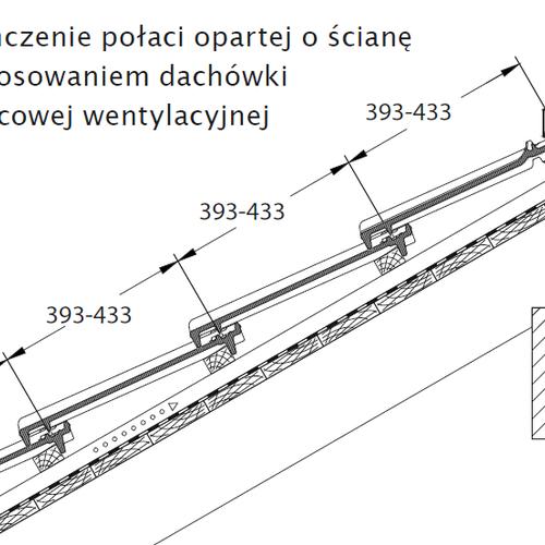 Rysunek techniczny - Wykończenie połaci opartej o ścianę z zastosowaniem dachówki kalenicowej wentylacyjnej