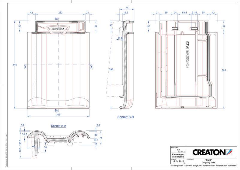 Plik CAD produktu MZ3 dachówka boczna lewa OGL