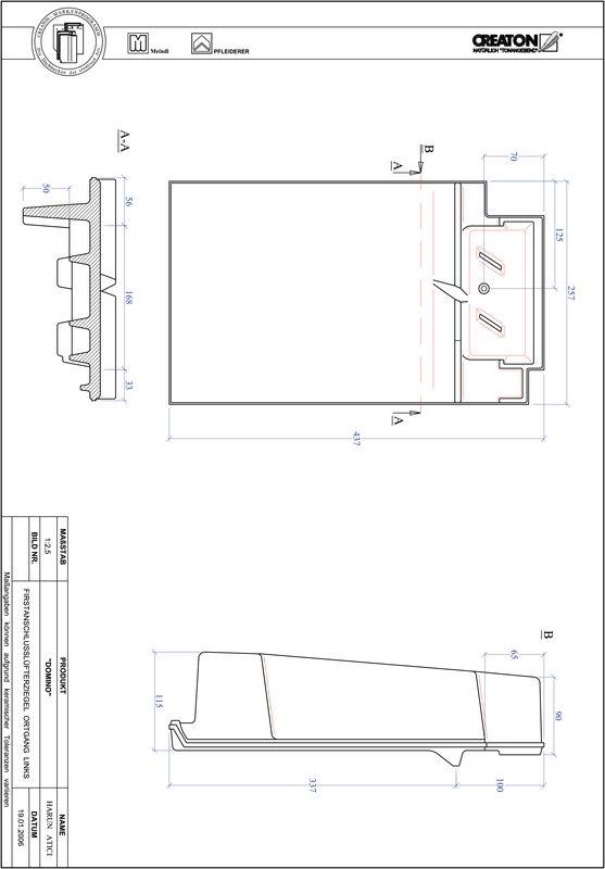 Plik CAD produktu DOMINO dachówka kalenicowa wentylacyjna boczna lewa FALOGL