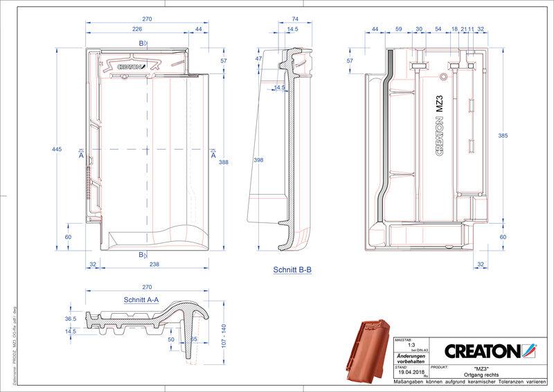 Plik CAD produktu MZ3 dachówka boczna prawa OGR