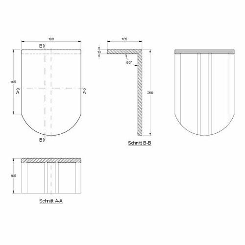 Rysunek techniczny produktu KLASSIK PULT-kurz