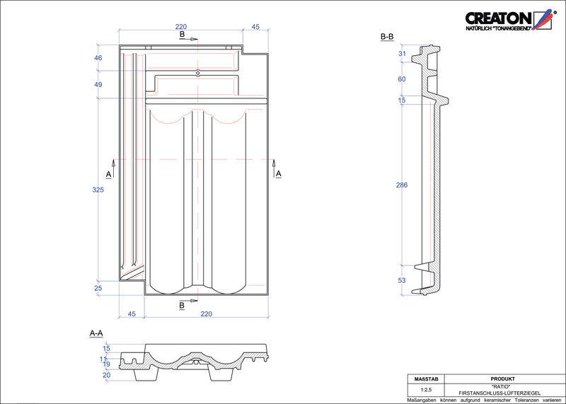 Plik CAD produktu RATIO dachówka kalenicowa wentylacyjna FALZ
