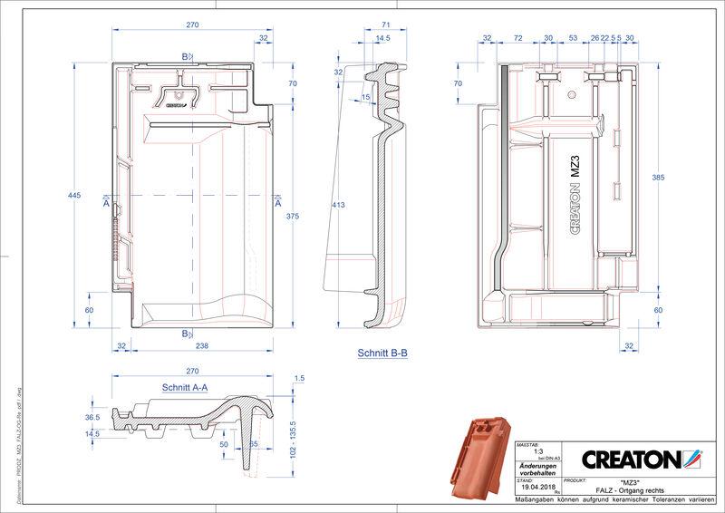 Plik CAD produktu MZ3 dachówka kalenicowa wentylacyjna boczna prawa FALOGR