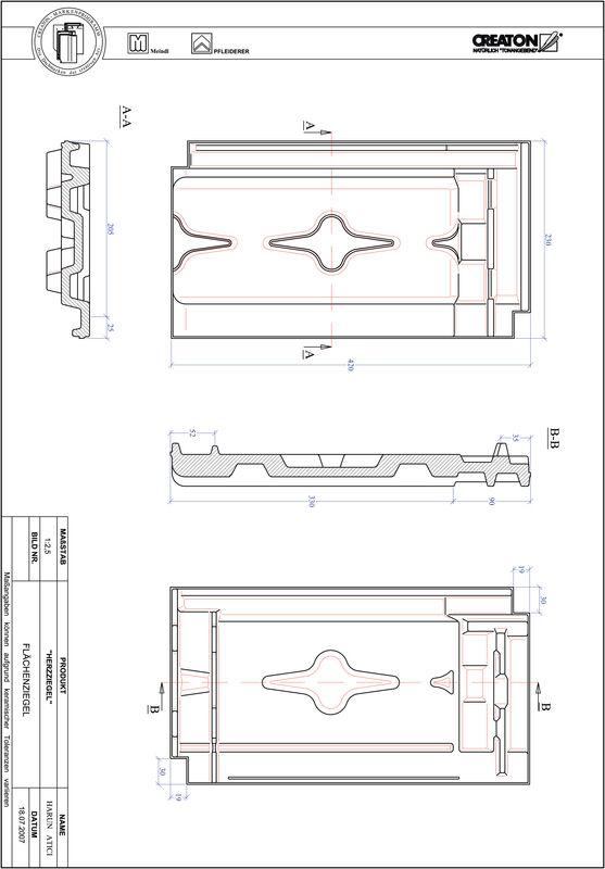 Plik CAD produktu HERZZIEGEL dachówka połaciowa FLA