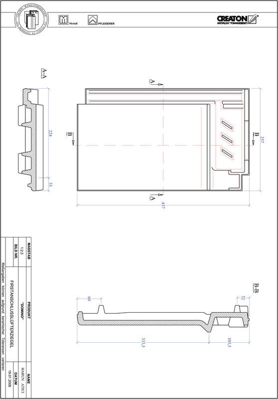 Plik CAD produktu DOMINO dachówka kalenicowa wentylacyjna FALZ