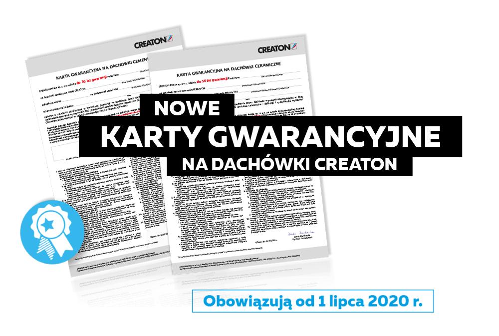 Nowe wzory kart gwarancyjnych na dachówki CREATON - obowiązują od 01.07.2020r.