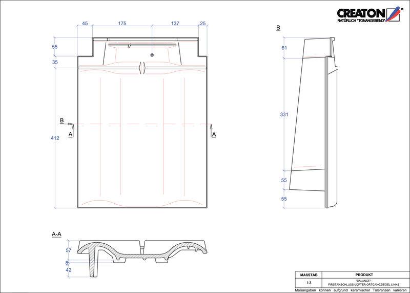 Plik CAD produktu BALANCE dachówka kalenicowa wentylacyjna boczna lewa FALOGL