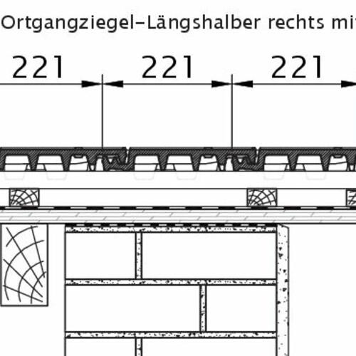 Rysunek techniczny produktu VISIO OG dachówka boczna połówkowa prawa OLH