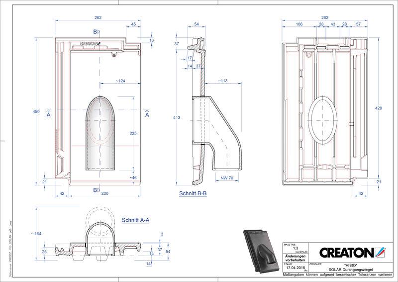 Plik CAD produktu VISIO dachówka przelotowa do systemu baterii solarnych SOLAR